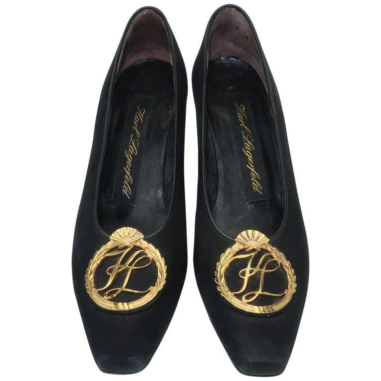 Karl Lagerfeld Black Suede Gold Logo Medallion Shoes Sz 7M, C.1990 For Sale