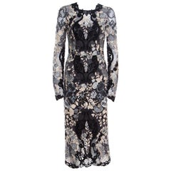 Dolce and Gabbana Multicolor Embroidered Lace Sheer Maxi Dress Small