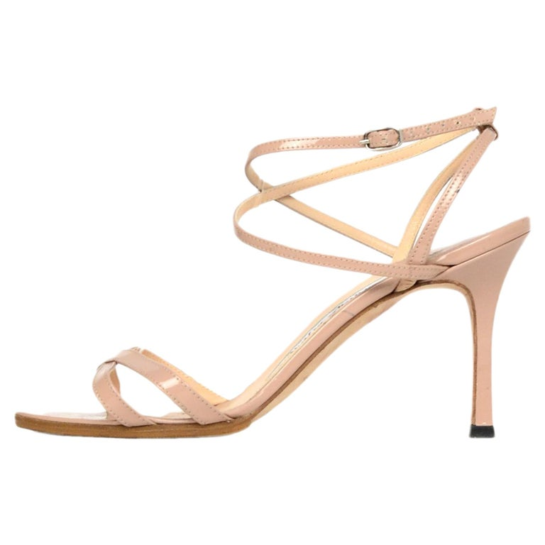 a43f5c8a890 Manolo Blahnik Nude Patent Leather Strappy Heel Sandals Sz 35.5 For Sale