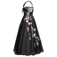 Oscar de la Renta Black Floral Embroidered and Appliqued Tulle Halter Gown M
