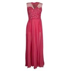 Elie Saab Begonia Embellished Silk Sleeveless Gown S