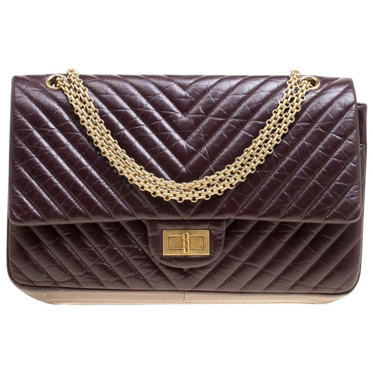 3457502d66eef1 Chanel Burgundy Chevron Quilted Leather Reissue 2.55 Classic 227 Flap Bag  For Sale