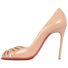 Christian Louboutin Nude Glazed Leather Crisscross Peep Toe Pumps Sz 38.5