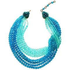 Vivid blue faceted bead multi row 'twist' necklace, Coppola e Toppo, 1950s