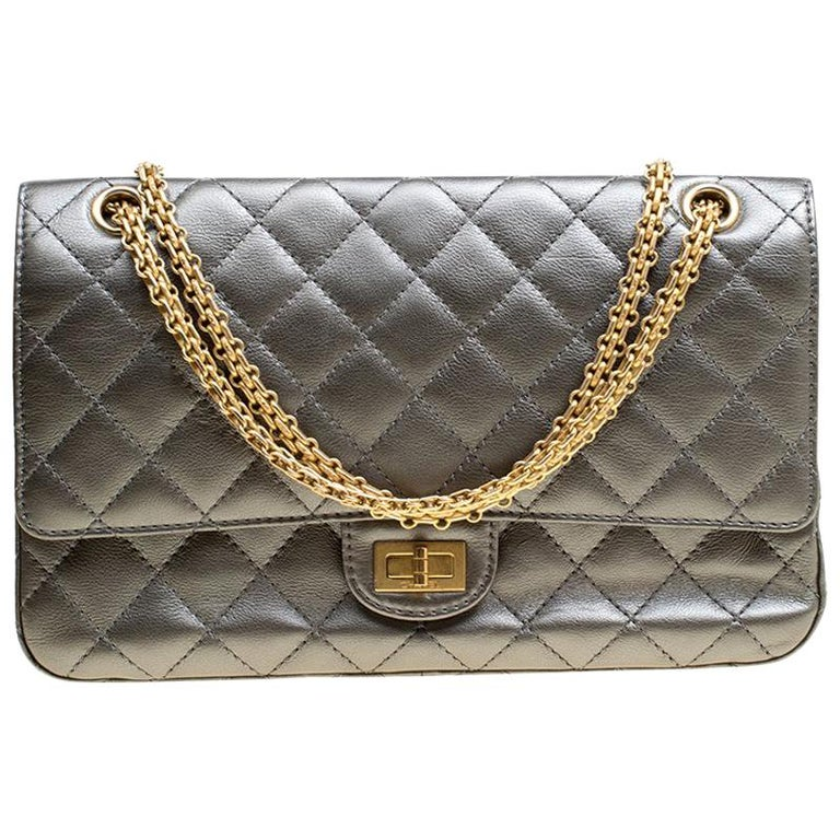 a9886b423e33 Chanel Grey Quilted Leather Reissue 2.55 Classic 226 Flap Bag For Sale