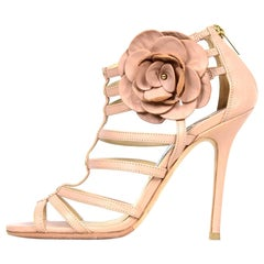 Jimmy Choo Nude Leather Strappy High Heel Sandals W/ Flower Sz 38