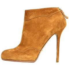 Sergio Rossi Tan Suede Ankle Boots Sz 38