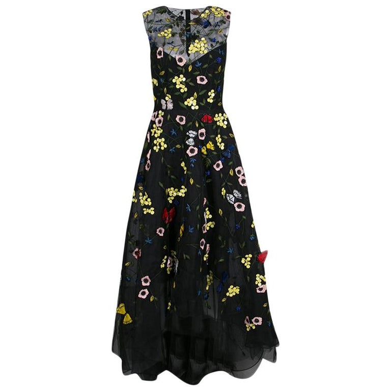 cafa06fafb Monique Lhuillier Black Floral and Butterfly Applique High Low Tulle Gown S  For Sale