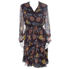 Chanel Brown Printed Silk Ruffled Tie Detail Long Sleeve Dress L