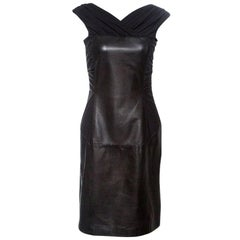 Alberta Ferretti Black Sheep Leather Panel Ruched Sleeveless Dress S
