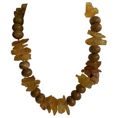 Yellow Amber Chunks Wood Line Jasper Gemstone Necklace