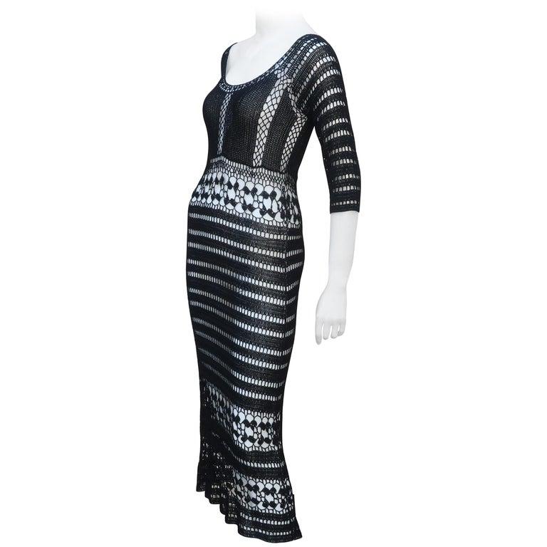 c19ac4f3fb ABS Allen Schwartz Bohemian Black Crochet Dress For Sale at 1stdibs
