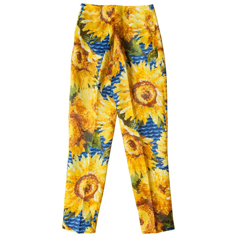 Gucci Bright Sunflower Silk Trouser Pants  For Sale