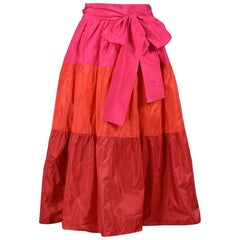 Vintage Yves Saint Laurent Red & Pink Tri-Panel Taffeta Skirt
