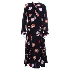 Rochas Black Floral Printed Silk Lace Trim Pintuck Detail Midi Dress M