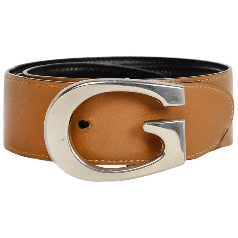 31ad67cc6 Gucci Black/Tan Reversible Leather Belt W/ G Buckle Sz 65/26 at 1stdibs