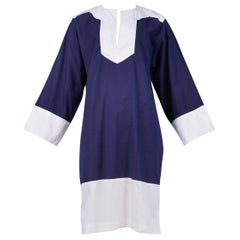 Vintage Yves Saint Laurent Navy Blue & White Cotton Nautical Tunic Dress