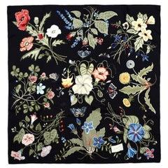 e51fda0f35d Gucci Black Multicolor Floral by Kris Knight Silk Scarf