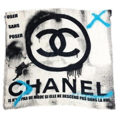 Chanel Large Graffiti Scarf Shawl Cashmere 51in CC Logo with Box