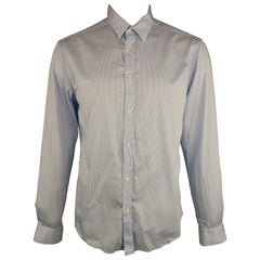 VERSACE -COLLECTION Size L White & Blue Stripe Cotton Long Sleeve Shirt