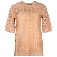 Chloe Blush Pastel Pink Crochet Knit Top Sz FR36/US2