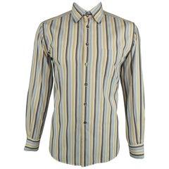 b82834888373bd DOLCE   GABBANA Size L Blue   Khaki Stripe Cotton Button Up Long Sleeve  Shirt