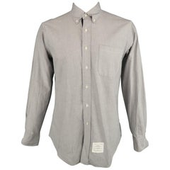 THOM BROWNE Size XL Gray Solid Cotton Button Down Long Sleeve Shirt