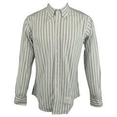 THOM BROWNE Size XL White & Green Stripe Cotton Button Down Long Sleeve Shirt