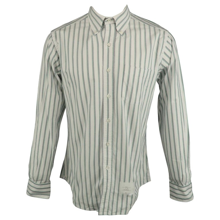 248f91f351 THOM BROWNE Size XL White & Green Stripe Cotton Button Down Long Sleeve  Shirt For Sale