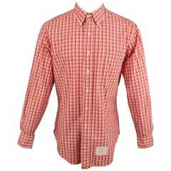 THOM BROWNE Size XXL Red & White Plaid Cotton Button Up Long Sleeve Shirt