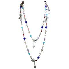 """Vintage Chanel Colorful 60"""" Sautoir Necklace"""