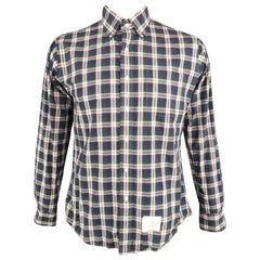 THOM BROWNE Size XL Navy & Green Plaid Cotton Button Down Long Sleeve Shirt