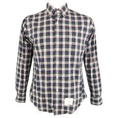 THOM BROWNE Size XL Navy & Green Plaid Cotton Button Down Long Sleeve Shirt