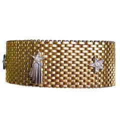Circa 1940s Kreisler Shooting Stars Gold Metal Mesh Bracelet