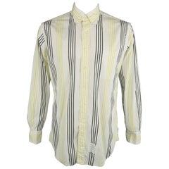THOM BROWNE Size XL White & Black & Yellow Stripe Cotton Long Sleeve Shirt