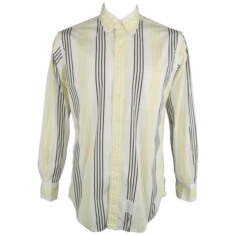 THOM BROWNE Size XL White & Black & Yellow Stripe Cotton Long Sleeve Shirt For Sale