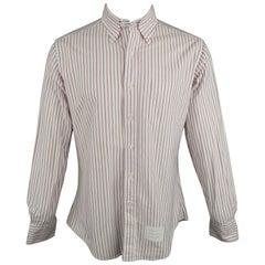 THOM BROWNE Size XL Red White Blue Stripe Cotton Button Down Long Sleeve Shirt