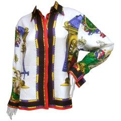 Gianni Versace Italian Graphic Design Silk Blouse circa 1990s