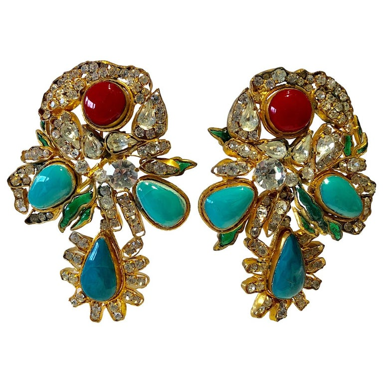 Vintage Yves Saint Laurent Haute Couture Mughal Chandelier Statement earrings  For Sale