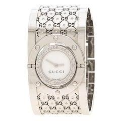 Gucci White Diamond Stainless Steel Twirl Women's Wristwatch 23 mm