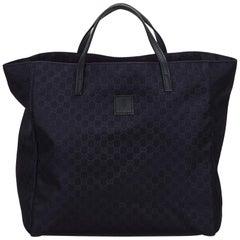 Gucci Blue Navy Nylon Fabric Guccissima Tote Bag Italy w/ Dust Bag
