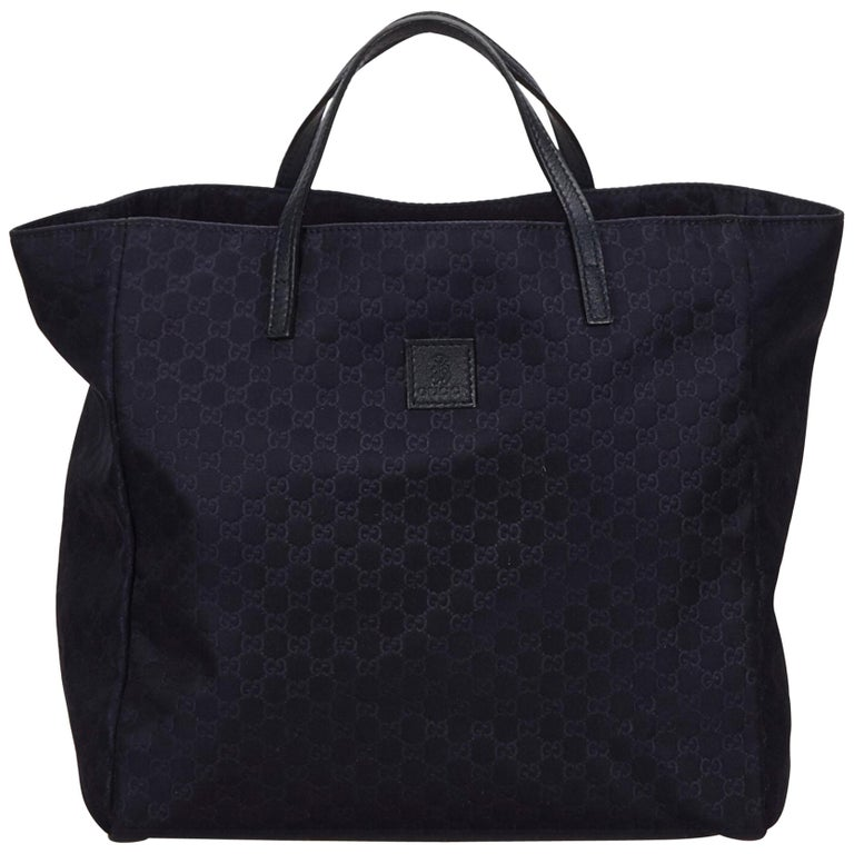 d9228385e567 Gucci Blue Navy Nylon Fabric Guccissima Tote Bag Italy w/ Dust Bag For Sale