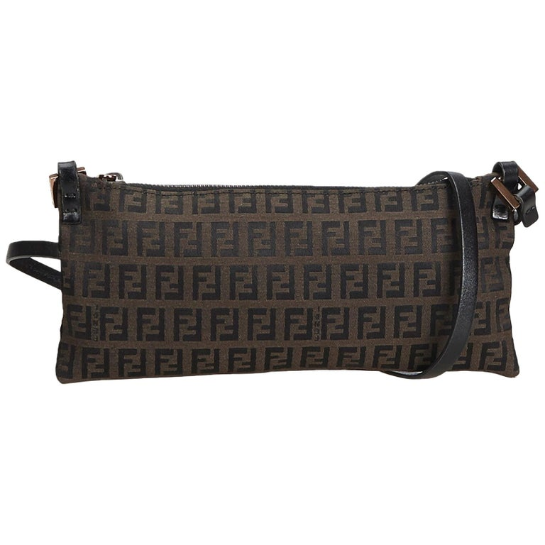 1f431eeb84 Fendi Brown Dark Brown Canvas Fabric Zucchino Crossbody Bag Italy For Sale