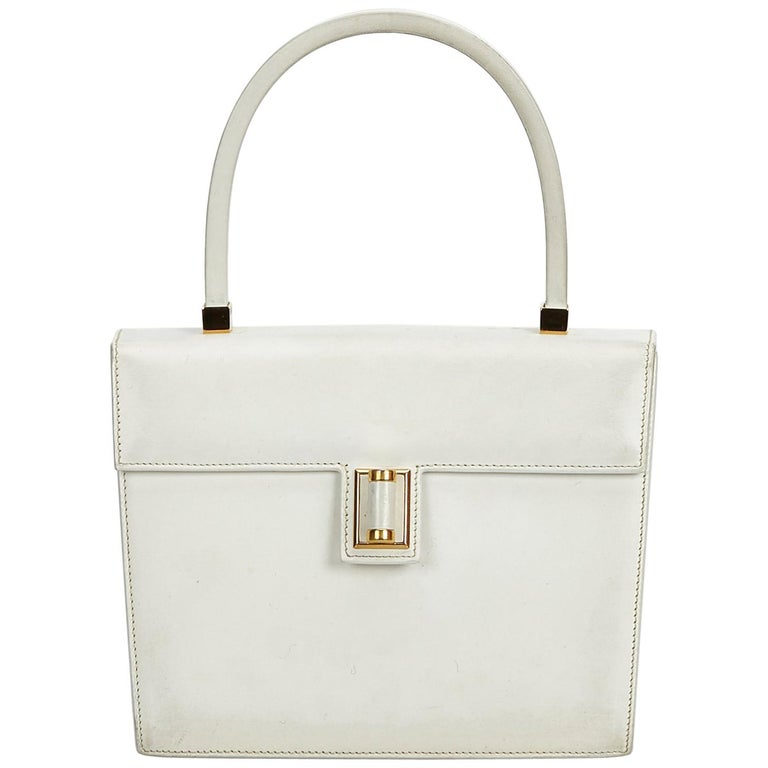 6a51c984bab Gucci White Leather Vintage Gucci Handbag Italy w  Dust BagBox For Sale