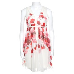 Giambattista Off White Floral Printed Silk Lace Underlay Sleeveless Dress S