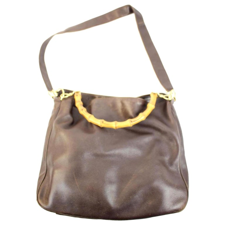 bf1bb4a4b87 Gucci 2way Bamboo Hobo 26gga1025 Brown Leather Shoulder Bag For Sale ...