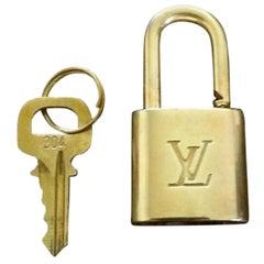 Louis Vuitton Gold Single Key Lock Pad Lock and Key 867732