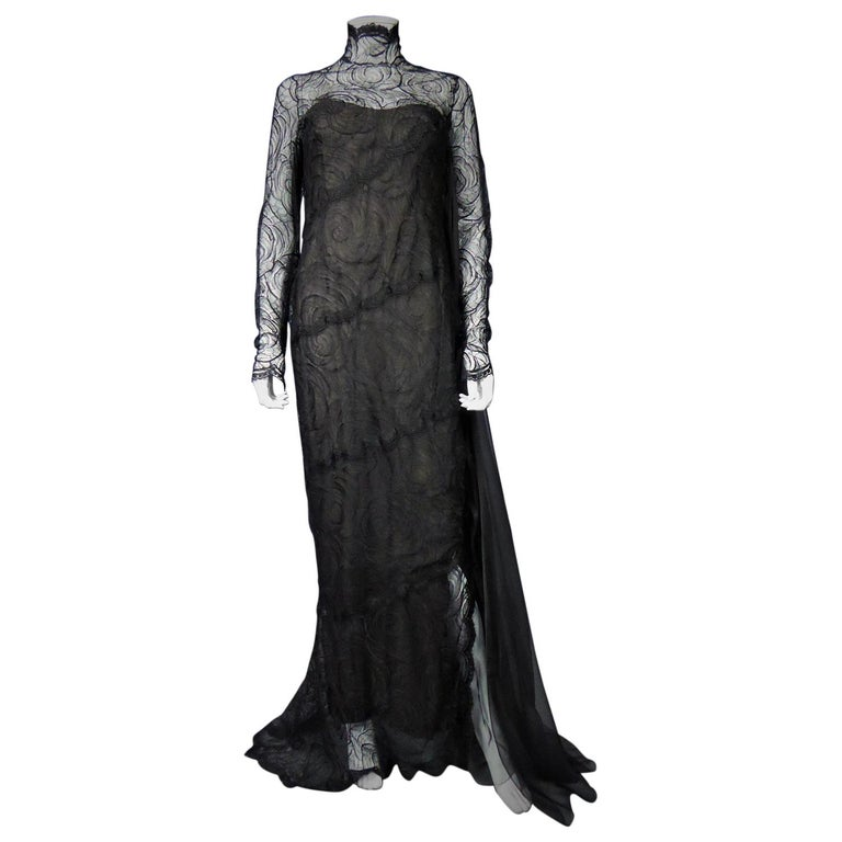 A Chanel Haute Couture Evening Dress by Karl Lagerfeld in Calais Lace Circa 1997 For Sale
