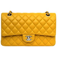 Chanel Yellow Leather 2.55 Double Flap Bag