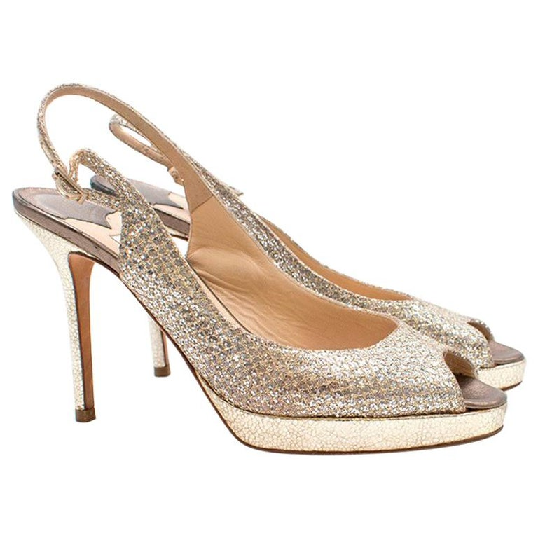 1af2be107e Jimmy Choo Nova 110 Glitter Peep-Toe Pumps Size 37 For Sale at 1stdibs